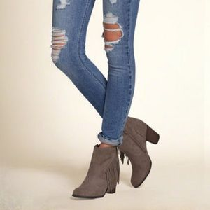 Madden Girl Taupe Suede Fringe Ankle Booties